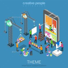 Theme by Sentavio Flat isometric mobile theme user interface customization web infographic concept vector. Ux Wireframe, Mobile Mockup, Mobile App, Architecture People, Isometric Design, Mobile Marketing, Vector Graphics, User Interface, Banner Design