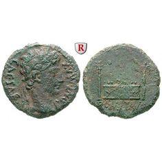 Römische Kaiserzeit, Augustus, As 9-14, ss: Augustus 27 v.-14 n.Chr. Kupfer-As 25 mm 9-14 Lyon. Kopf r. mit Lorbeerkranz CAESAR PONT… #coins