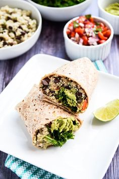 The Ultimate Vegan Protein Burrito | Fluffy quinoa, black beans, hemp seeds, kale, pico de gallo, and guacamole get tucked into sprouted tortillas!