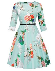a5f184d4869504 online shopping for Belle Poque Women's Vintage Dress Floral Print A-Line  from top store. See new offer for Belle Poque Women's Vintage Dress Floral  Print ...