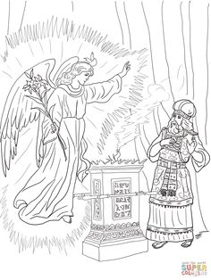 Angel Visits Zechariah Coloring Page From John The Baptist Category Select 29957 Printable Crafts Of Cartoons Nature Animals Bible And Many More