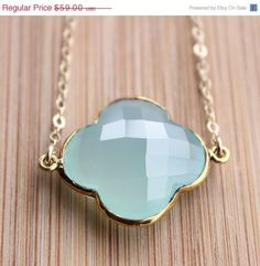 SALE 15 OFF Gold Aqua Blue Chalcedony Four Leaf Clover Necklace - 14Kt Gold Fill - Gemstone Necklace on Etsy, $50.15