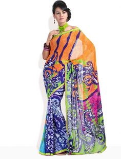 Triveni printed georgette sari #asian #fashion #women #ladies #feminine #desi #saree #anarkali #lehenga #blouse #caftan #silk #kimono #sari #bollywood #jewelry #jade #outfit #designer #couture #indian #pak #georgette #celebrity #collection