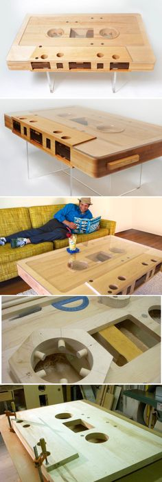 Cassette table. This would be a great conversation piece in a Man Cave. (The…