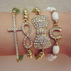 Arm Candy bracelet set sideways cross Beaded by AlegriasBoutique, $35.00