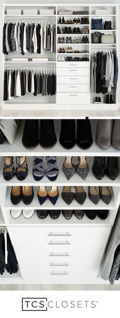 Amazing Walk In Closet Ideas And Organization Designs. A beautiful dream closet makeover ! I LOVE the organization ideas. Such a great use of a small space. Closet Organisation, Closet Storage, Home Organization, Closet Shelving, Wardrobe Storage, Wire Shelving, Storage Room, Dressing Ikea, Dressing Rooms