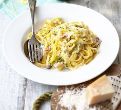 Creamy courgette & bacon pasta. A quick and creamy carbonara-style tagliatelle that showcases delicious courgettes contrasted with cream and pancetta.