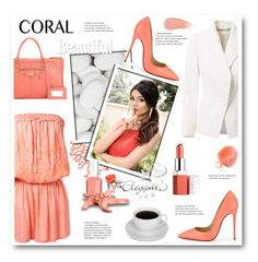 """""""CORAL"""" by stranjakivana ❤ liked on Polyvore featuring beauty, Melissa Odabash, Humble Chic, Christian Louboutin, Bouchra Jarrar, Clinique, Balenciaga, Mawi, Essie and Valentino"""