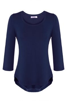 Meaneor Women's Basic 3/4 Sleeve Curved Hem Round neck Tunic Top Navy Blue XXL -- Awesome products selected by Anna Churchill