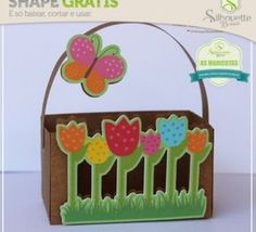 Free Studio file from Silhouette Brasil DIY tulip basket easter spring mother Shape Gratis Silhouette, Easter Baskets To Make, Paper Basket, Basket Bag, Free Shapes, Summer Birthday, Party Accessories, Silhouette Projects, Pattern Paper