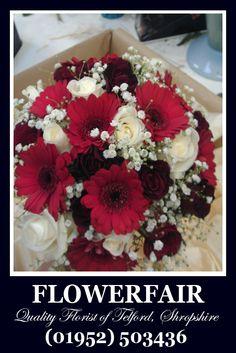 Red and Burgundy Wedding flowers - brides bouquet - from Telford florist - Flowerfair
