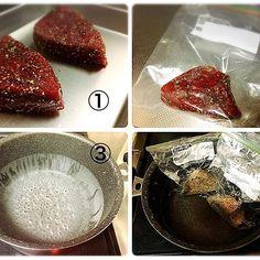 2016/11/28 12:11:26 ryoya.kudo アスリートフードマイスターによるちょっとした作り方💡 一昨日アップした肉です🍖 facebookにも載せたんですが・・・ 画像は厚さ3cm程の牛モモ肉💡 ①肉にお好みの下味をつける。(塩コショウやシーズニングなどなど) ②下味をつけた肉を耐熱のジップロックに入れる。 ③鍋にお湯を沸かす。(肉が小さいので沸騰しきる前80℃くらいでOK) ④お湯が沸いたら火を止めて、袋に入った肉を袋から空気を抜きながら沈めて鍋の蓋をして放置。(肉の大きさにもよるけど、このくらいなら30分程) 食べる直前にフライパンなどでさっと焼いて焼き色をつけて、食べやすい大きさに切っていただきましょう😋 #おいしい #delicious #健康 #healthy #美容 #beauty #トレーニング #training #タンパク質 #protein #牛肉 #beef #安い #作るの簡単 #おうちカフェ #おうちごはん #新潟 #アスリートフードマイスター  #健康