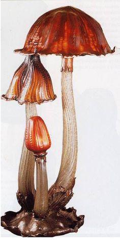 Art Nouveau - Lampe 'Champignons' - Pâte de Verre - Emile Gallé