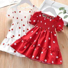 Frocks For Girls, Toddler Girl Dresses, Little Girl Dresses, Girls Dresses, Dresses For Toddlers, Beach Dresses, Little Girls, Red Chiffon, Frock Design