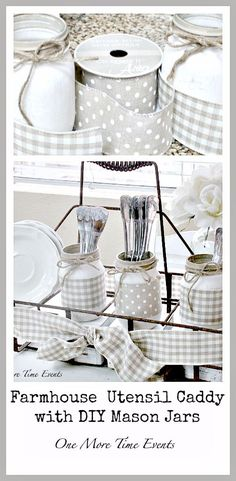 Farmhouse utensil caddy with diy mason jars. This would be really cute for a…