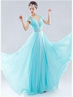 Ericdress Open Back A-Line Floor-Length Long Evening Dress