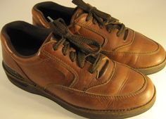 Hush Puppies Men Leather Oxford Lace-up Shoes size 9M Mahogany Brown #HushPuppies #Oxfords