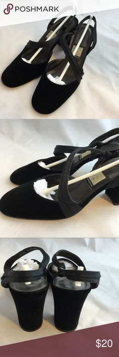 """Black velvet chunky heels leather sole size 6.5 Really nice and dressy black velvet pumps by Nina. Satin straps and leather sole. Good used condition. Size 6.5 . Heel 3"""" Nina Shoes Heels"""