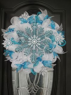 2014 Halloween Disney Frozen Snowflakes Wreath - Ribbon, Mesh Handmade Room Decors for 2014 Halloween
