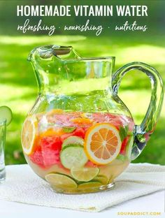 If you're tired of staring down that plain ole glass of water, add loads of flavor and healthy nutrients by infusing your pitcher with fresh fruits and herbs. Homemade vitamin water contains no added sugar, no artificial sweeteners, and no added weirdness Infused Water Recipes, Fruit Infused Water, Fruit Water, Fresh Fruit, Healthy Drinks, Detox Drinks, Healthy Water, Healthy Recipes, Healthy Detox