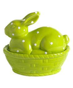Green Ceramic Rabbit in Basket Décor