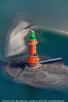 Hohe Weg Lighthouse — Germany Info visible on bottom of photo Lighthouse Pictures, Beacon Of Light, Light Of The World, Water Tower, Beautiful Buildings, Seaside, Cool Photos, Nautical, Scenery