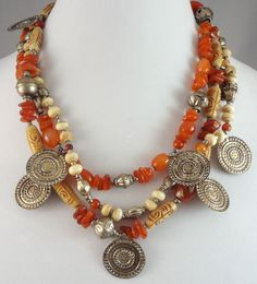Necklace perfect for summer styles!  Shell Carnelian and Medallion Beaded Necklace Mixed Beads Triple Strand #elegantkb #ebay