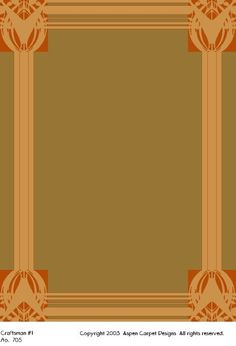 Craftsman #1 is a Craftsman / Prairie School design. It favors a Craftsman style interior for a Craftsman bungalow.        This design is meant to be used in the corners of the rug. The standard colors are shown of Greenbriar, Prairie Gold, and Paprika Rust. It makes an excellent rug for a foyer, dining room, or a conversation area.