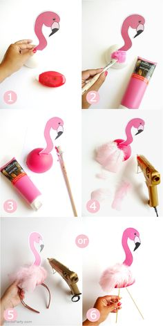 DIY Flamingo Birthday Party Decorations - learn to craft these table, headbands, photo booth props and lawn decor for your summer celebrations!DIY Flamingo Birthday Party Decorations - would be cute for an Alice in wonderland party too. Flamingo Party, Flamingo Baby Shower, Flamingo Birthday, Flamingo Costume, Pink Flamingo Craft, Flamingo Decor, Unicorn Birthday, Straw Decorations, Birthday Party Decorations Diy