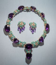 CARTIER AMETHYST, DIAMOND, AND TURQUOISE NECKLACE AND EARRINGS~ From the collection of Marjorie Merriweather Post. From an exhibition at Hillwood Museum.