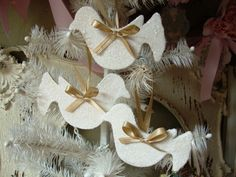 White Glitter ornaments wood birds Shabby Chic by PaperAndMache, $7.00