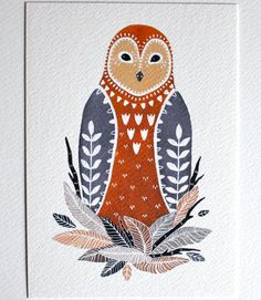 Owl Illustration Art Painting  Little Owl Paz  by RiverLuna