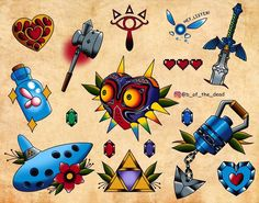 Legend of Zelda Ocarina of Time / Majora's Mask flash art > various game items Nintendo Tattoo, Gaming Tattoo, Traditional Tattoo Arm, Grandpa Tattoo, Legend Of Zelda Tattoos, Time Tattoos, Tatoos, Tattoo Flash Sheet, Professional Tattoo