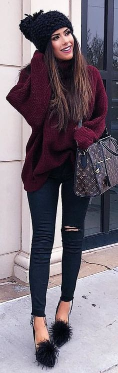 #winter #outfits purple sweater and distressed black jeans