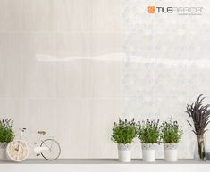 Glossy is glam especially when you pair your tile with a matching décor tile in muted tones. Bring more light into your space with this elegant look. #tile #glossytiles #decortile #featurewall #trendingdesign #trendyhome #homedecor #interiordesign Feature Walls, Trendy Home, Your Space, Design Trends, Floors, Tiles, Africa, Make It Yourself, Interior Design