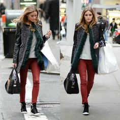 Olivia Palermo, shopping, red coated jeans, ZARA coat, sneakers
