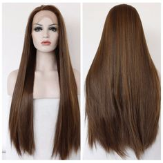 Fashion Straight Ombre Dark Brown Synthetic Lace Front Wig Glueless Two Tone Heat Resistant Hair Coffee Women Natural Wigs
