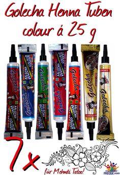 7x Golecha Henna - Farbige/colour Tuben á 25g Hennapaste - Klinisch getestet!