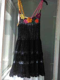 Lace crocheted dress for summer OOAK dress with flowers Sundress with  crocheted flowers
