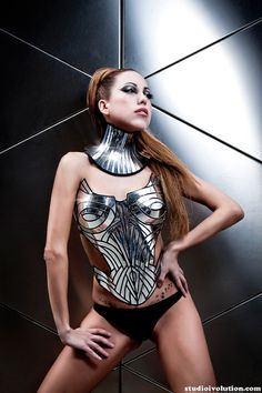 chrome neck corset armour posture necklace gothic choker by divamp