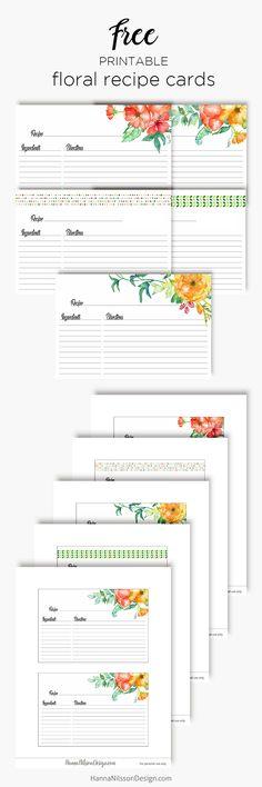 Floral recipe cards   organize your recipes   menu planner   free printable   recipe binder  