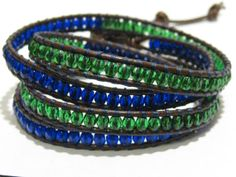 Seattle Seahawks Super Bowl inspired brown leather beaded wrap bracelet with green and blue Czech beads and a silver color metal button clasp.