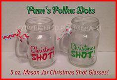 4 Mason Jar CHRISTMAS SHOT GLASSES with Ribbon on by PamsPolkaDots