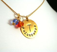 Tennessee Volunteers necklace by Crow Steals Fire.  LOVE!