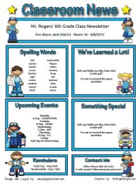 classroom newsletters - website has premade newsletters that you fill in & make a pdf of to print...so easy!