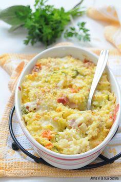 Riso con verdure e uova al forno | Anna e la sua cucina Orzo, Couscous, Quinoa, Macaroni And Cheese, Food And Drink, Yummy Food, Ethnic Recipes, Kitchen, Cream