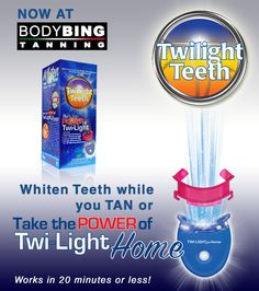 Whiten teeth in a tanning bed or now take it home! Works in 20 minutes or less and lasts about 12 sessions. Whiten teeth for up to 6 months!