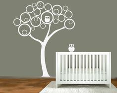 Nursery wall decal - Tree with owls -  Wall Decal wall decal. $99.00, via Etsy.