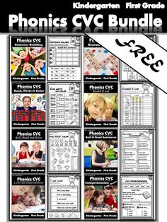 Free Phonics worksheets pages) : CVC fluency bundle - Kindergarten/First Grade. This bundle helps student to build fluency with CVC words and sight words with interactive activities. Kindergarten Reading Activities, Phonics Reading, Teaching Phonics, Phonics Worksheets, Comprehension Activities, Phonics Activities, Kindergarten Worksheets, Teaching Resources, Interactive Activities
