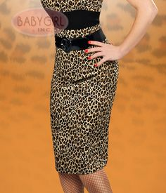 Broad Minded Clothing - Boardroom Bombshell Leopard Print Stretch Sateen High Waisted Pencil Skirt with Belt.